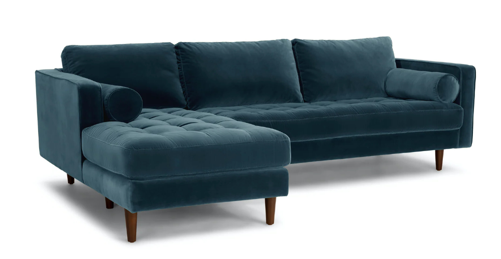 Fashionable Florence Mid Century Modern Velvet Right Sectional Sofas For Sven Grass Green Right Sectional Sofa (View 4 of 20)