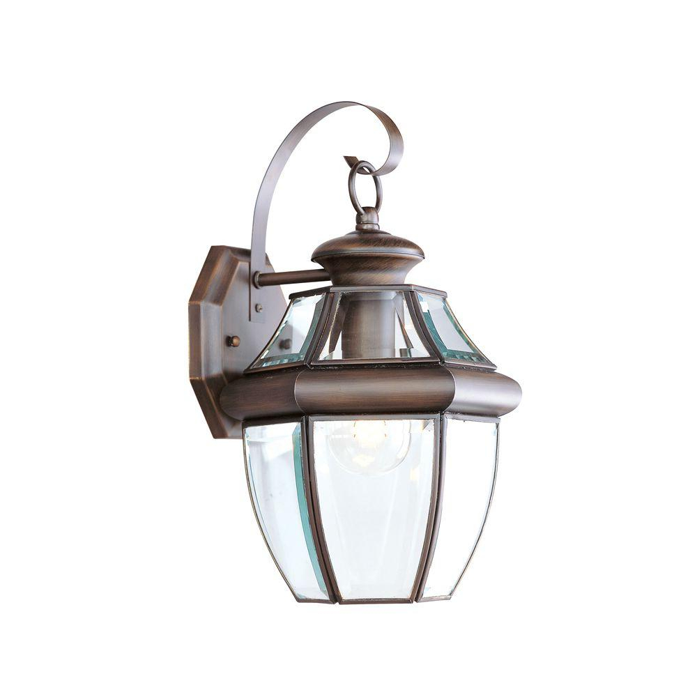 Fashionable Gillian Beveled Glass Outdoor Wall Lanterns For Livex Lighting 1 Light Bronze Outdoor Wall Lantern With (View 10 of 20)