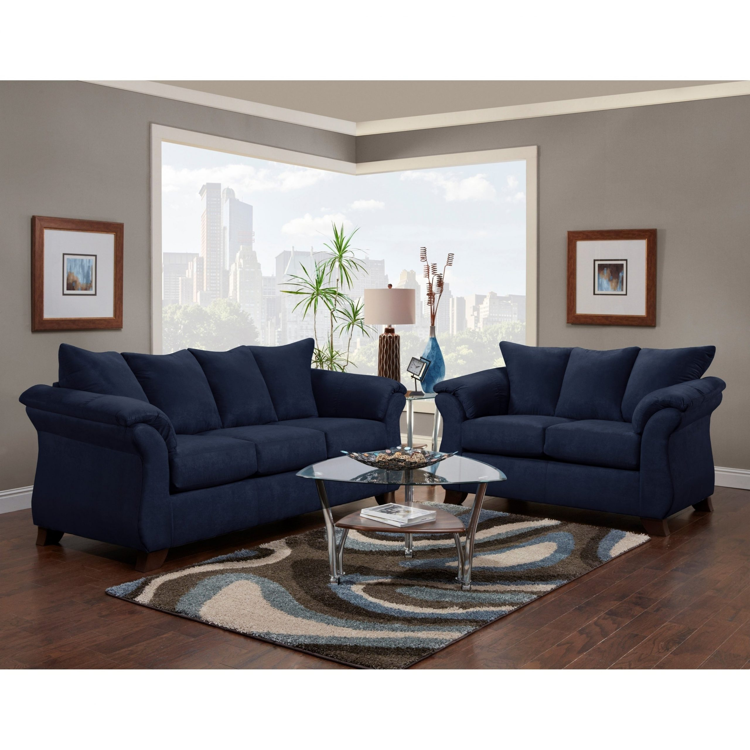 Fashionable Gracie Navy Sofas Pertaining To Navy Blue Sofa And Loveseat Blaze Navy Fabric Modern Sofa (View 16 of 20)