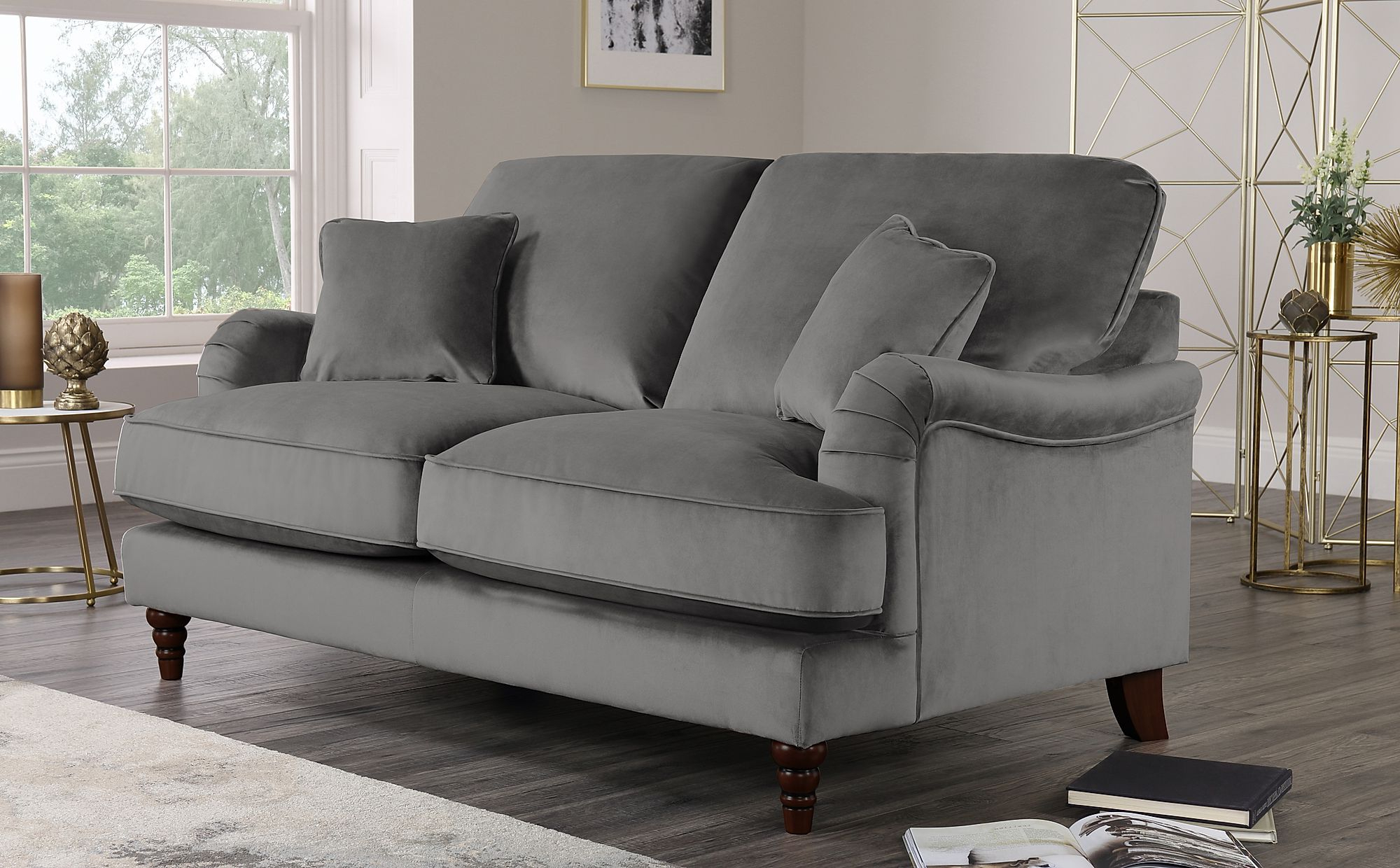 Fashionable Gray Sofas Intended For Charleston Grey Velvet 2 Seater Sofa (View 19 of 20)