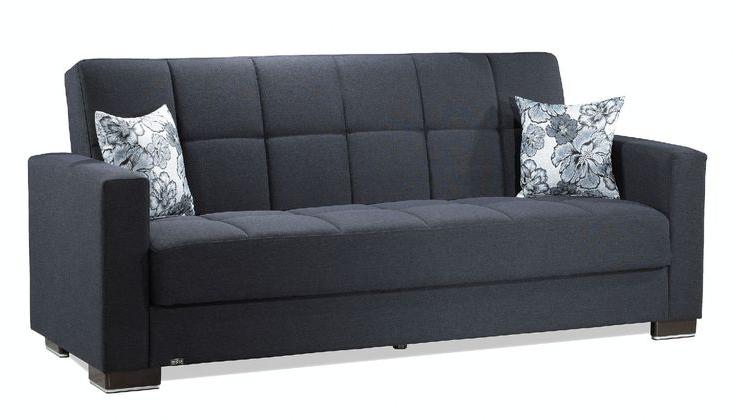 Fashionable Hugo Chenille Upholstered Storage Sectional Futon Sofas Inside Casamode Armada Dark Blue Chenille Polyester Sofa W (View 14 of 20)