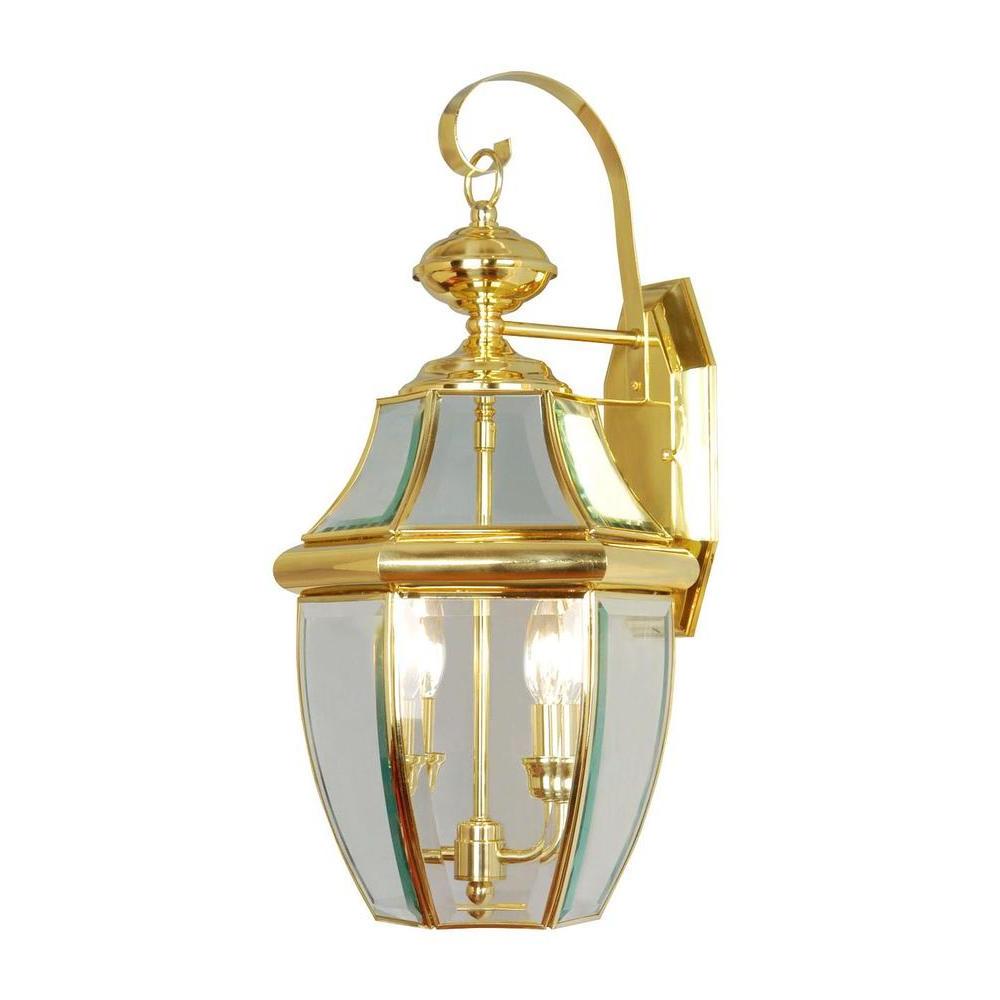 Fashionable Livex Lighting 2 Light Bright Brass Outdoor Wall Lantern Regarding Wrentham Beveled Glass Outdoor Wall Lanterns (View 9 of 20)