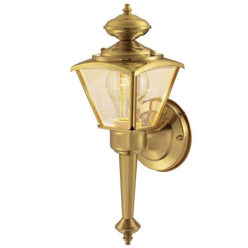 Fashionable Malak Outdoor Wall Lanterns Within Hampton Bay 1 Light Polished Brass Outdoor Wall Lantern (View 10 of 20)