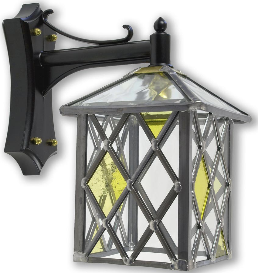 Fashionable Marlow Amber Diamond Leaded Stained Glass Outdoor Wall Lantern In Meunier Glass Outdoor Wall Lanterns (View 7 of 20)