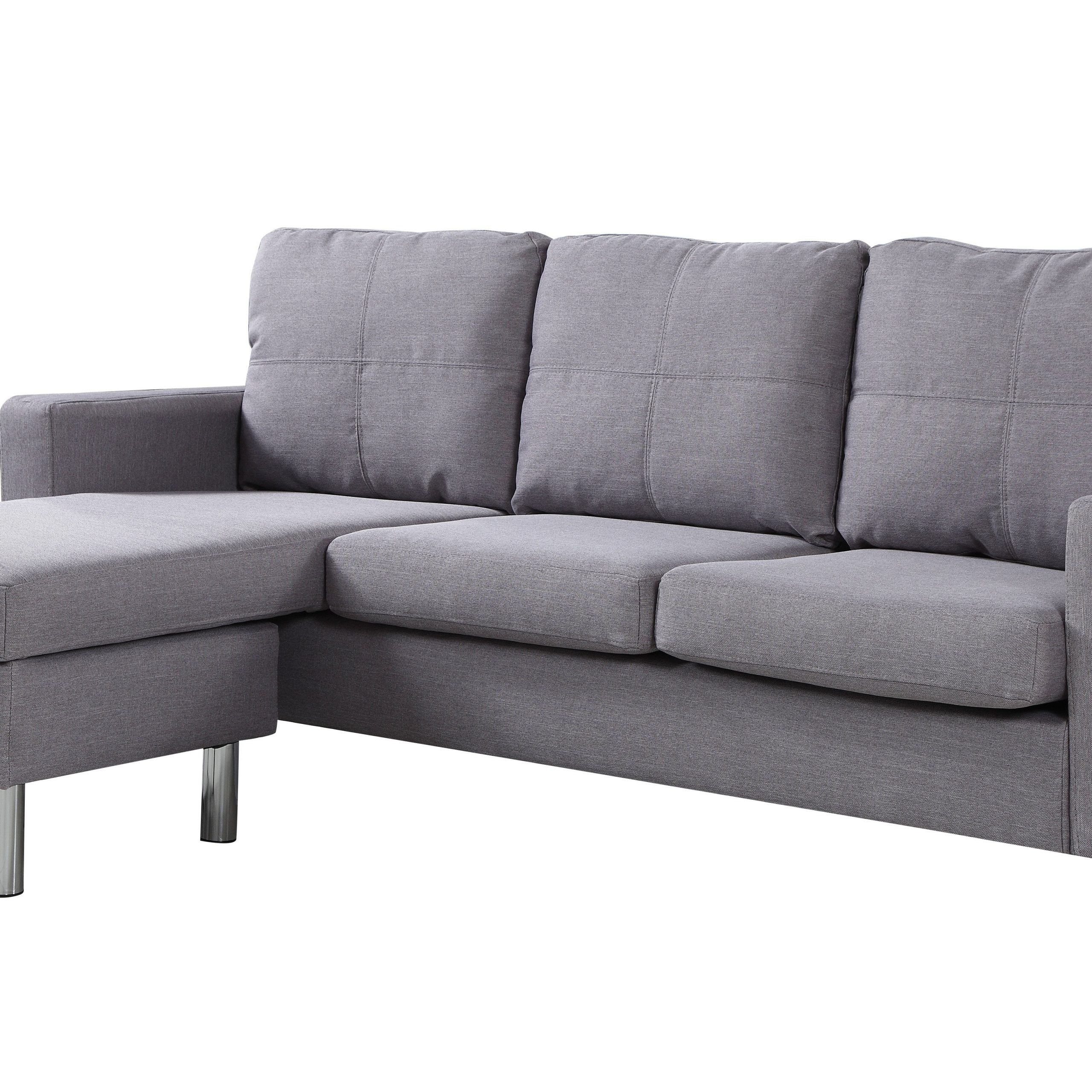Fashionable Modern Living Reversible Fabric Sectional Sofa, Light Grey For 2pc Crowningshield Contemporary Chaise Sofas Light Gray (View 4 of 20)