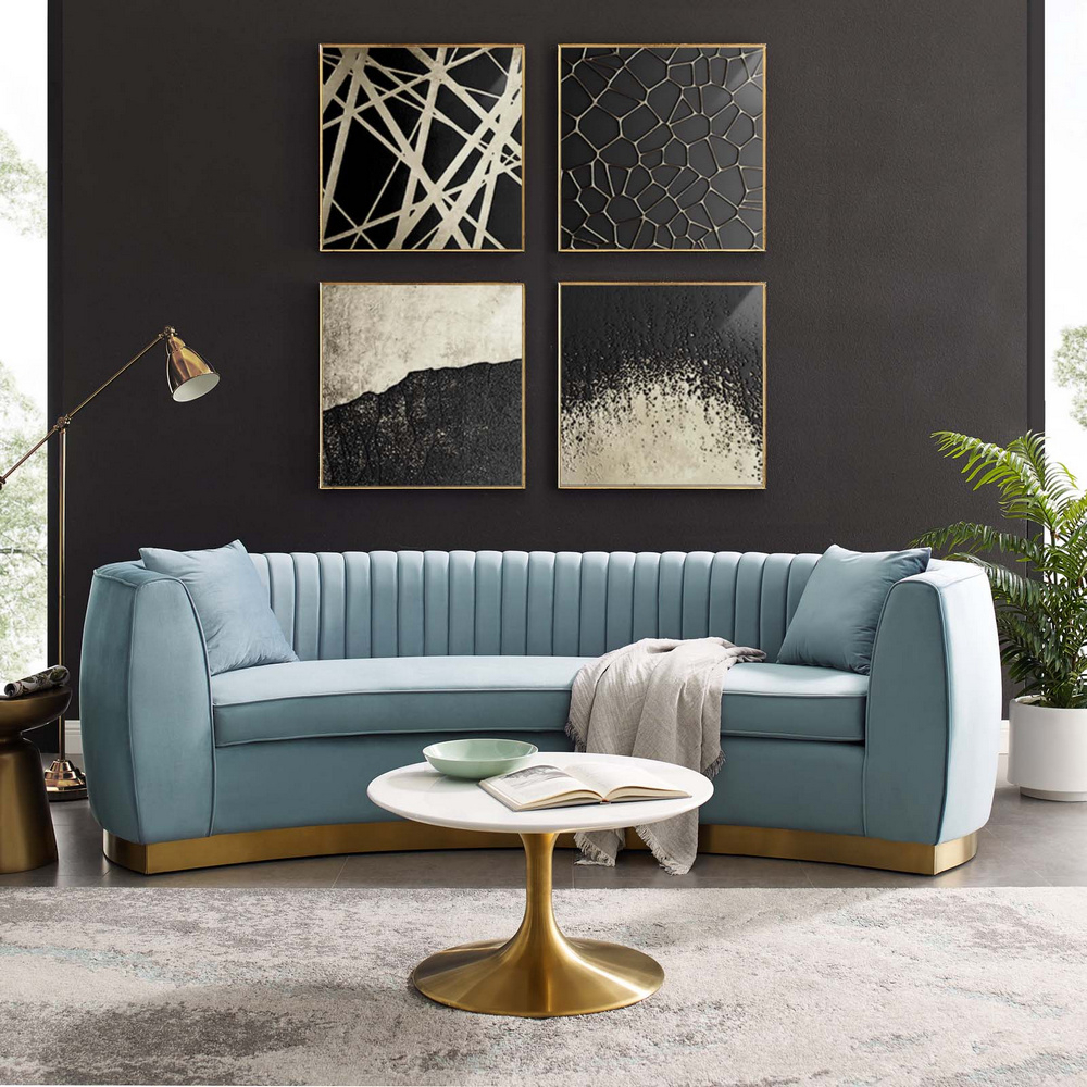 Fashionable Molnar Upholstered Sectional Sofas Blue/gray Intended For Enthusiastic Light Blue Velvet Fabric Sofa (oversized) (View 7 of 20)
