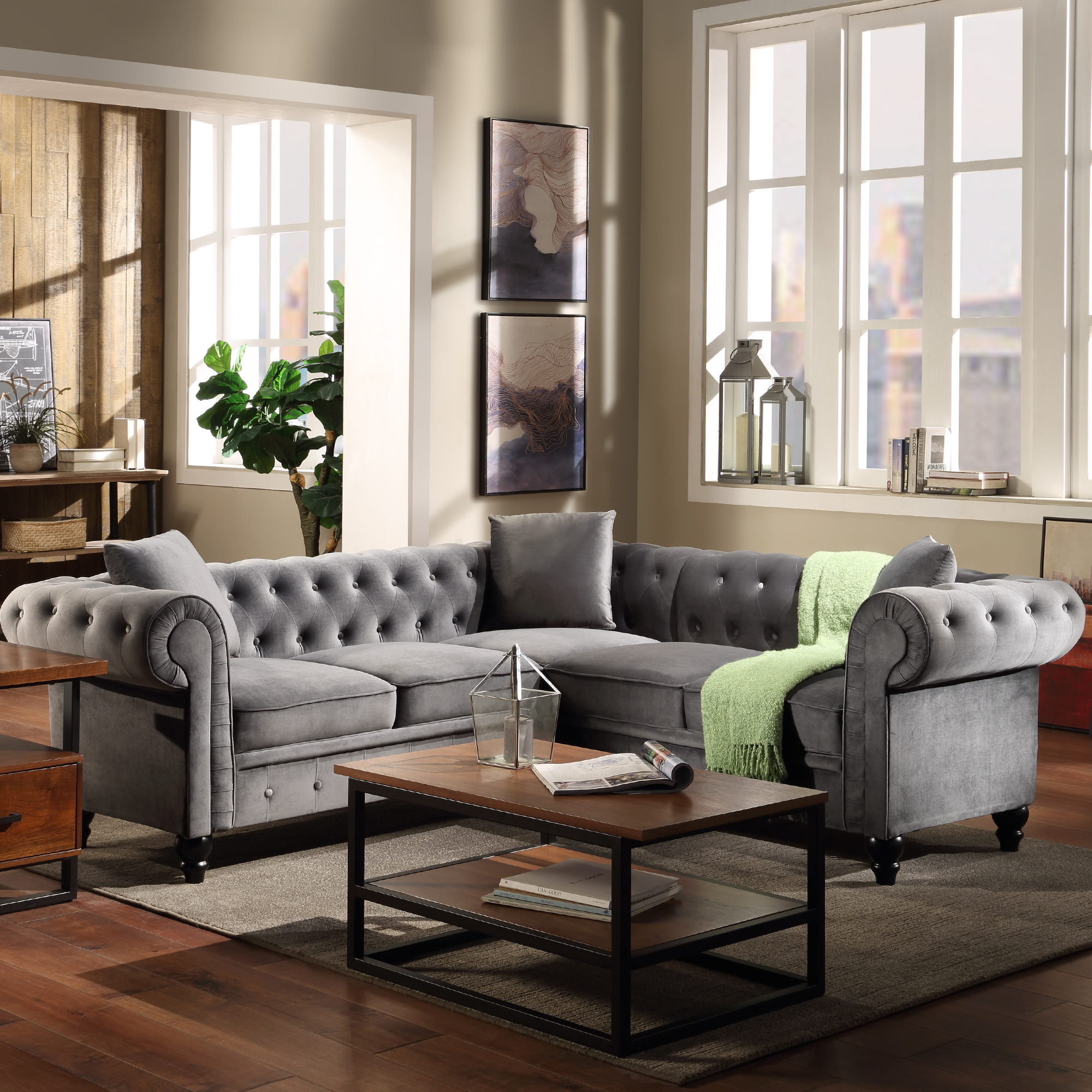 Fashionable Noa Sectional Sofas With Ottoman Gray Inside Chesterfield Sofa For Living Room, Mid Century L Shape (View 18 of 20)