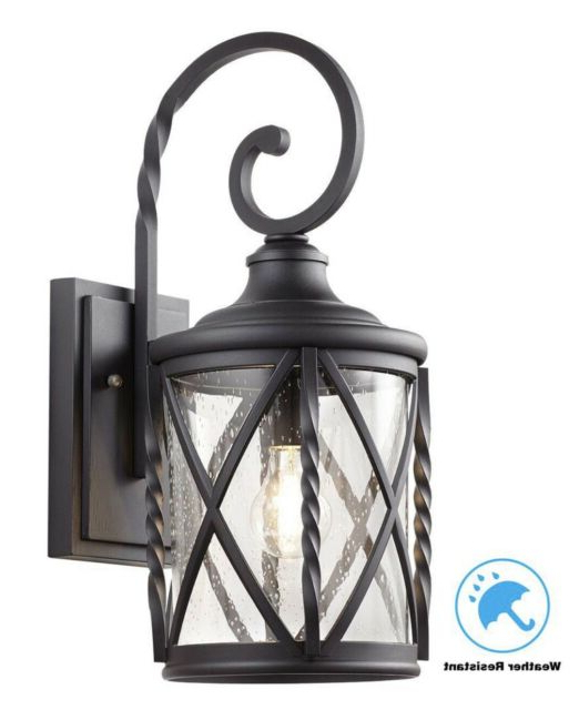 Fashionable Palma Black/clear Seeded Glass Outdoor Wall Lanterns With Regard To Home Decorations 1 Light Black Outdoor Wall Lantern Sconce (View 20 of 20)