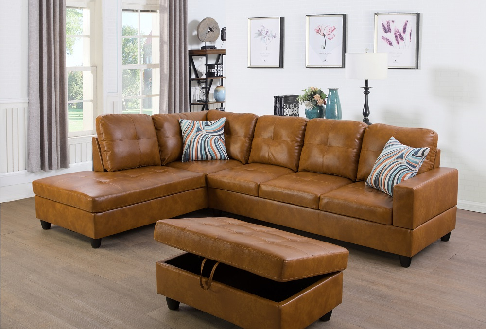 Fashionable Ponliving Furniture Left Facing 3pc Sectional Sofa Set Intended For 3pc Polyfiber Sectional Sofas (View 6 of 20)