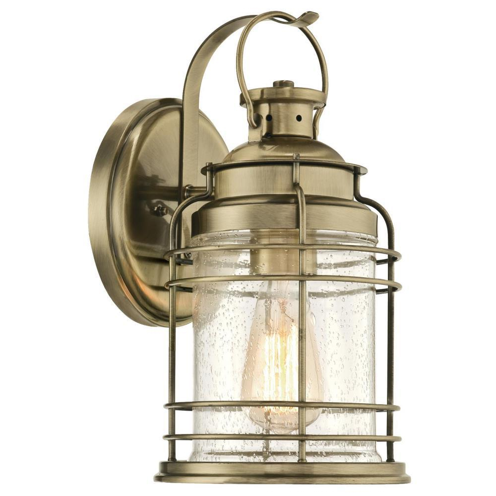 Fashionable Rockmeade Black Outdoor Wall Lanterns Pertaining To Westinghouse Kellen 1 Light Antique Brass Outdoor Wall (View 18 of 20)