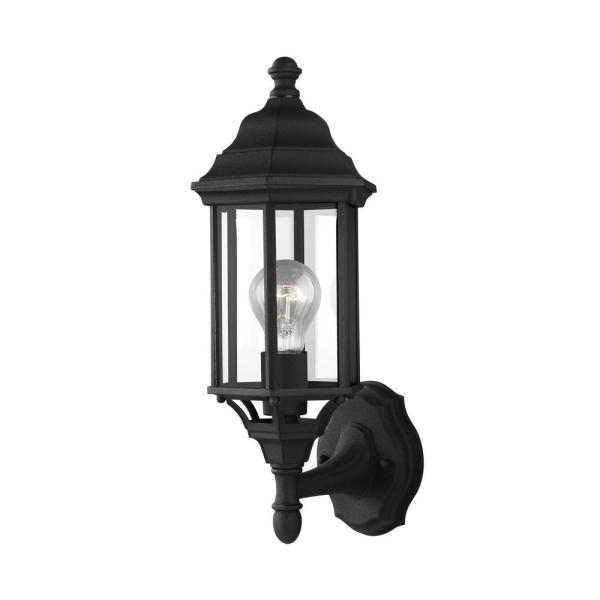 Fashionable Sea Gull Lighting Sevier 1 Light Black Outdoor  (View 20 of 20)
