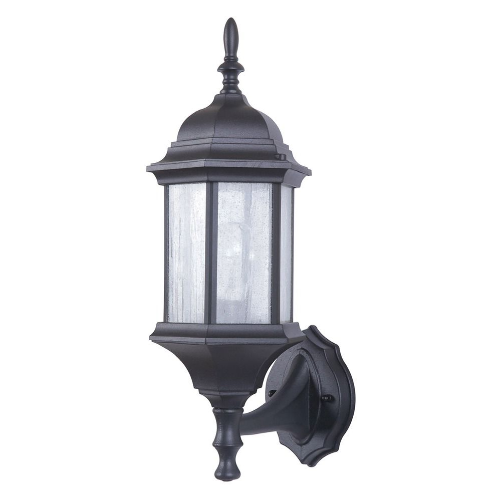 Fashionable Seeded Glass Outdoor Wall Light Black Craftmade Lighting Throughout Emaje Black Seeded Glass Outdoor Wall Lanterns (View 11 of 20)