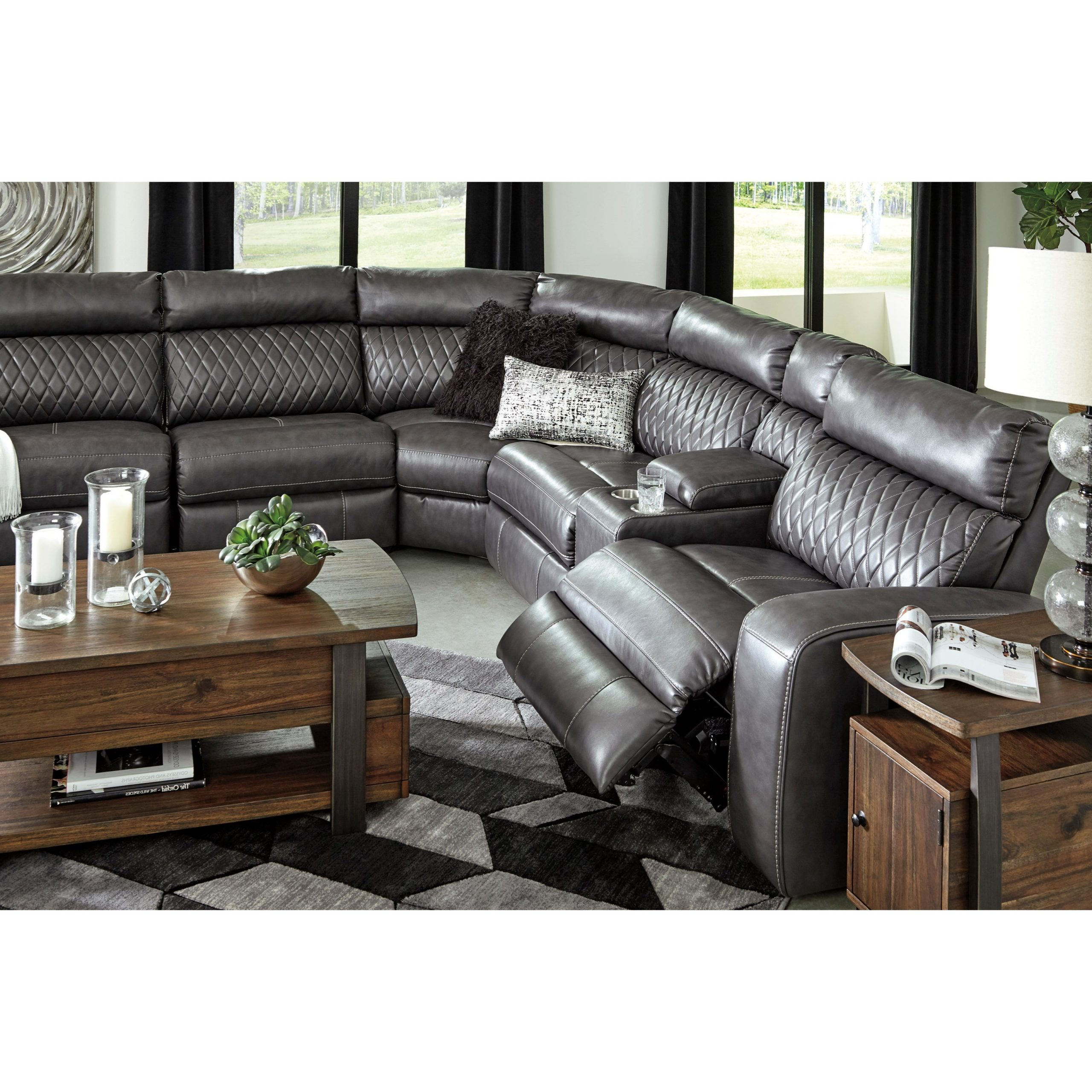 Fashionable Signature Designashley Samperstone Transitional Power In Celine Sectional Futon Sofas With Storage Reclining Couch (View 17 of 20)