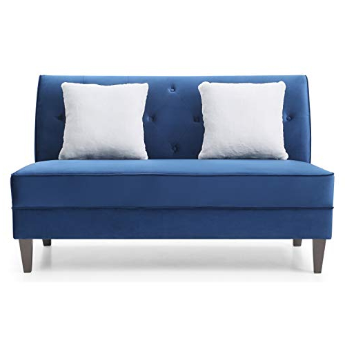 Fashionable Ukn Navy Blue Armless Sofa Solid Modern Contemporary Throughout Artisan Blue Sofas (View 19 of 20)