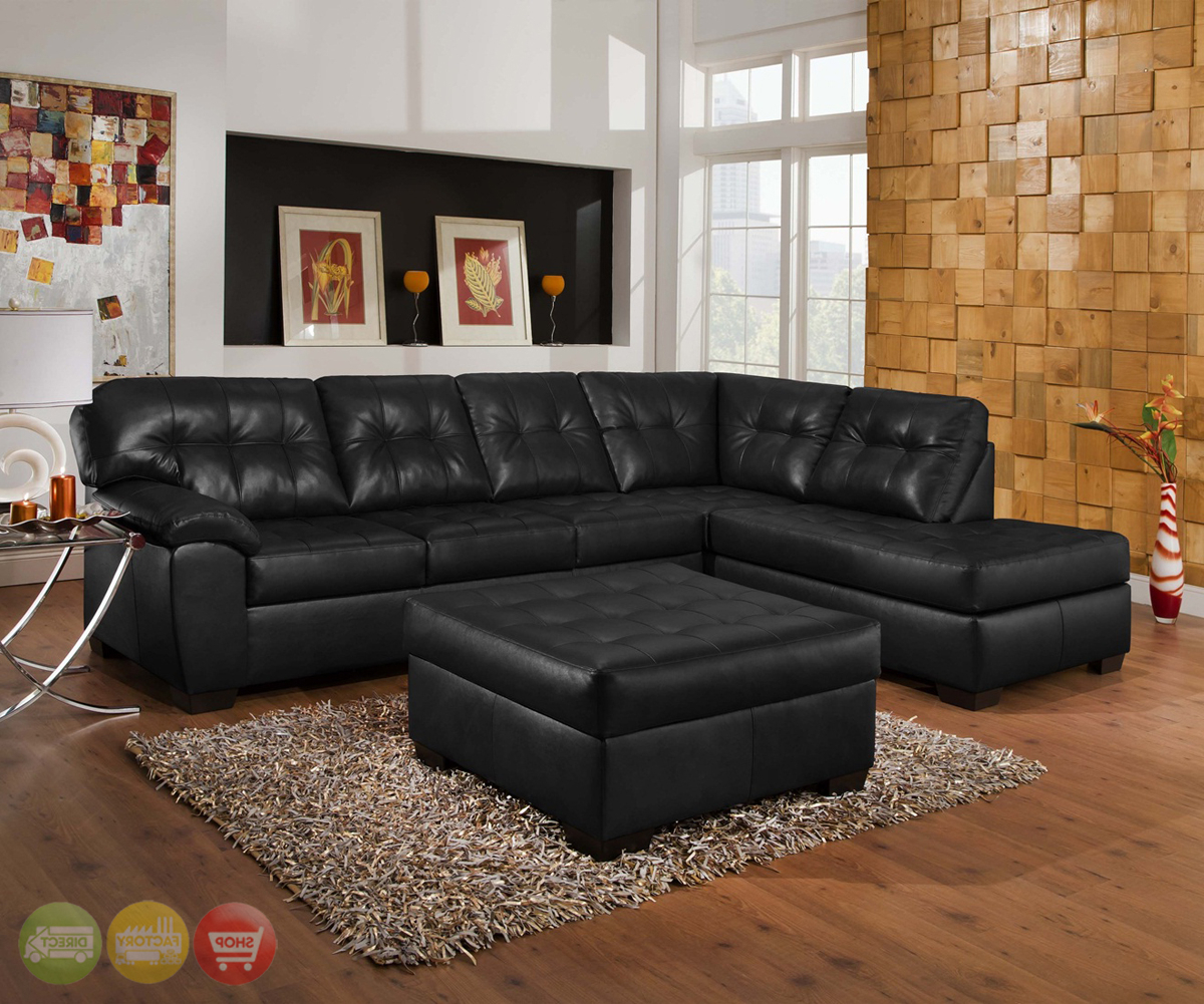 Fashionable Wynne Contemporary Sectional Sofas Black In Soho Contemporary Onyx Leather Sectional Sofa W/ Left Chaise (View 3 of 20)