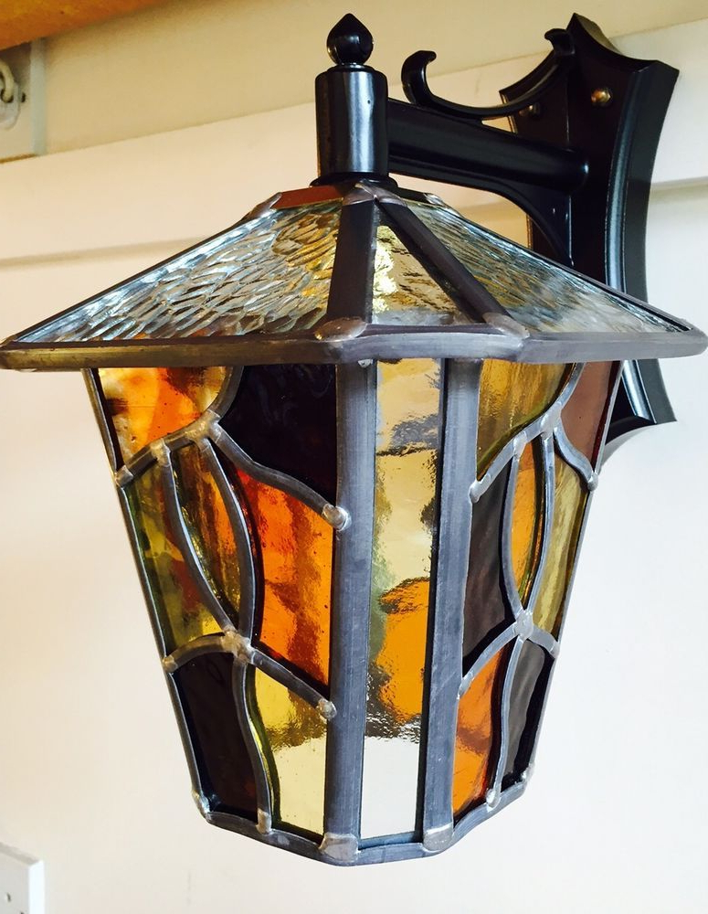 Faunce Beveled Glass Outdoor Wall Lanterns Inside Latest Stained Glass Outdoor Wall Light – Home Design Ideas (View 2 of 20)