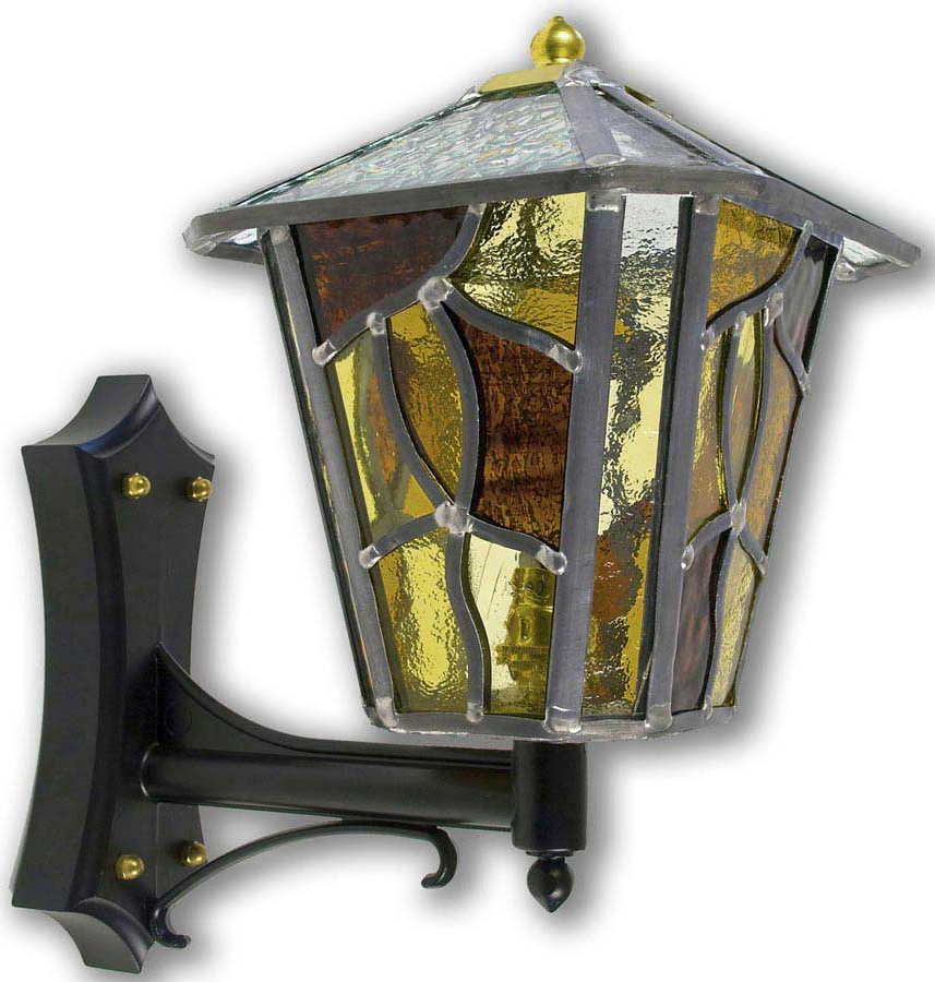 Faunce Beveled Glass Outdoor Wall Lanterns Inside Well Liked Coniston Handmade Amber Leaded Glass Upward Outdoor Wall (View 12 of 20)