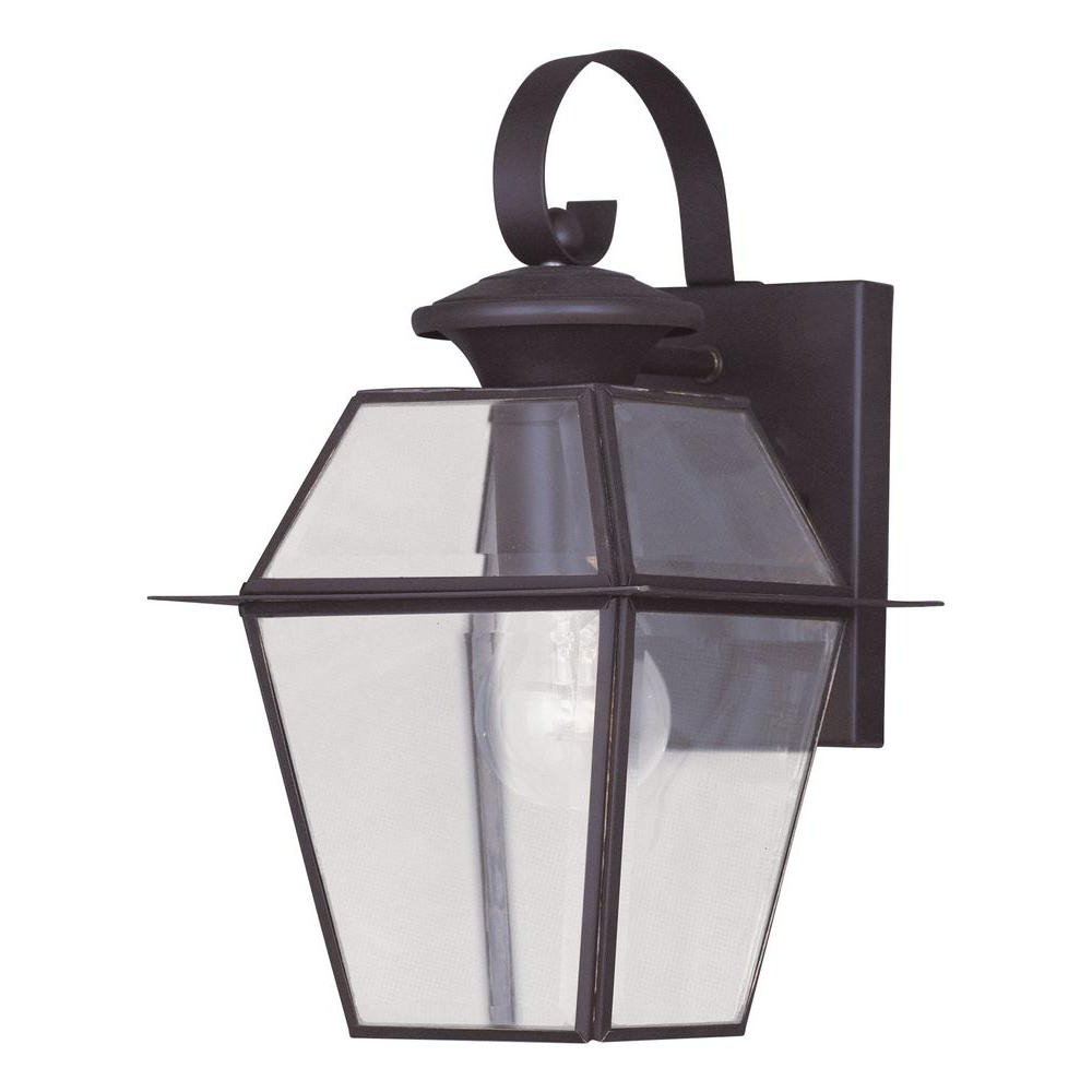 Faunce Beveled Glass Outdoor Wall Lanterns Intended For 2018 Livex Lighting 1 Light Bronze Outdoor Wall Lantern With (View 14 of 20)
