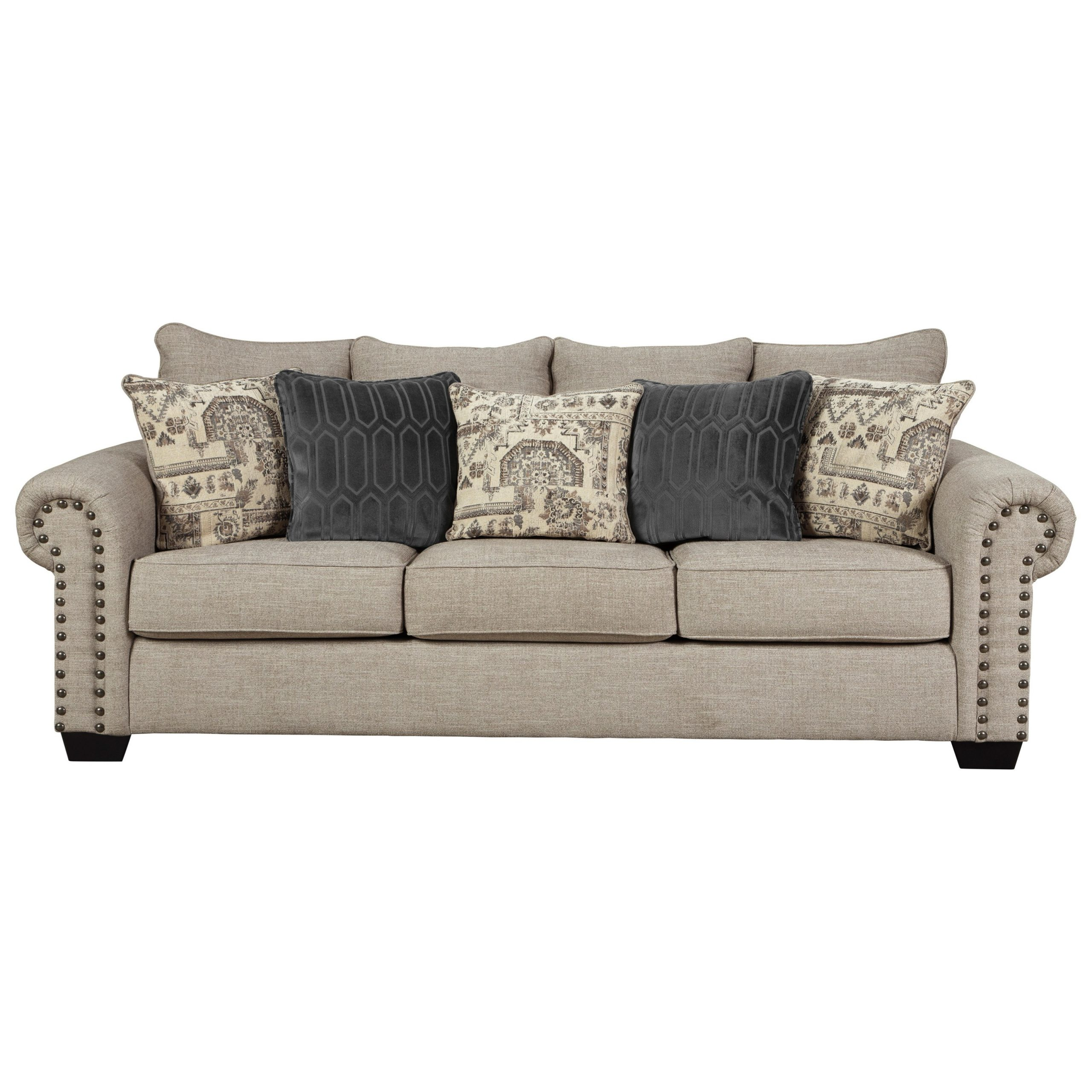Favorite 2pc Polyfiber Sectional Sofas With Nailhead Trims Gray With Regard To Signature Designashley Zarina 9770438 Transitional (View 4 of 20)