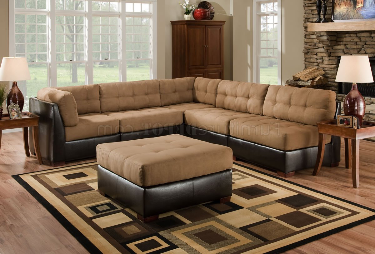 Favorite 3pc Faux Leather Sectional Sofas Brown With Camel Fabric Sectional Sofa W/dark Brown Faux Leather Base (View 1 of 20)
