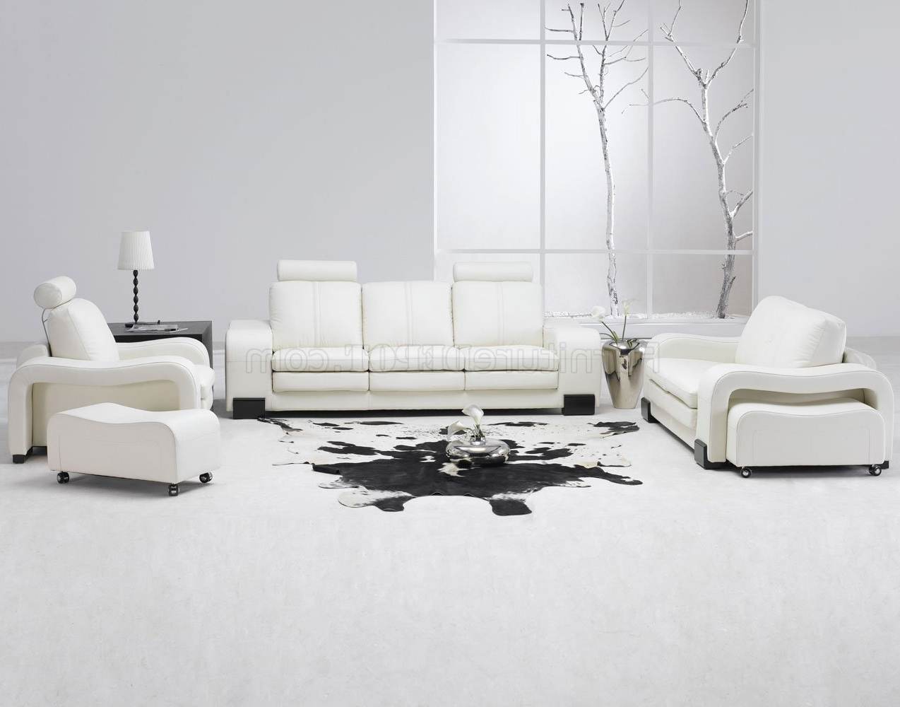 Favorite 4pc Beckett Contemporary Sectional Sofas And Ottoman Sets For White Leather 4pc Modern Sofa, Loveseat, Chair & Couch (View 9 of 20)