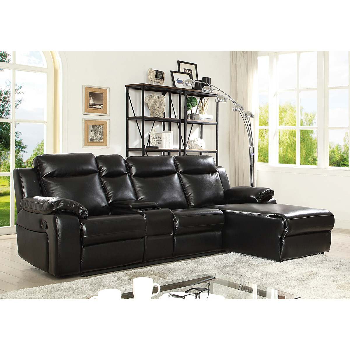 Favorite 9110blkss 2pc Sofa Chaise Black For 2pc Connel Modern Chaise Sectional Sofas Black (View 19 of 20)