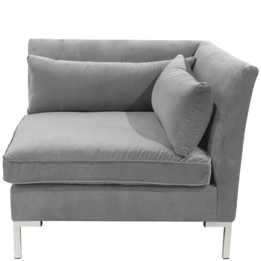Favorite Alexis Corner Chair With Silver Metal Y Legs Gray Velvet With 4pc Alexis Sectional Sofas With Silver Metal Y Legs (View 14 of 20)