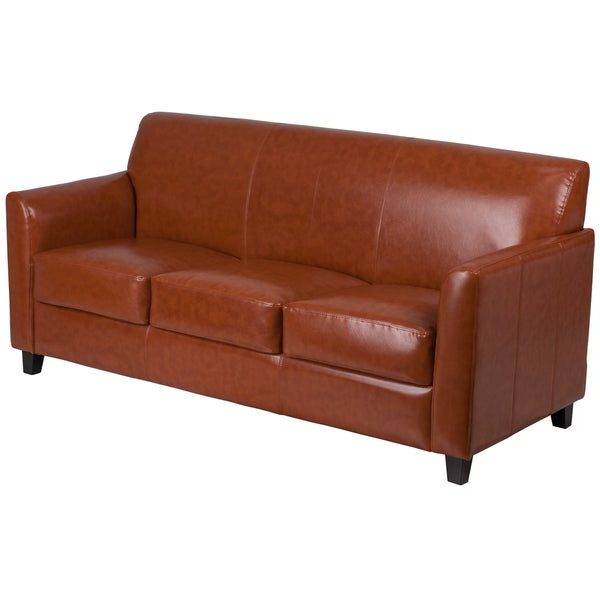 Favorite Benville Modern Cognac Leather Sofa – On Sale – Overstock Intended For Florence Mid Century Modern Right Sectional Sofas Cognac Tan (View 17 of 20)