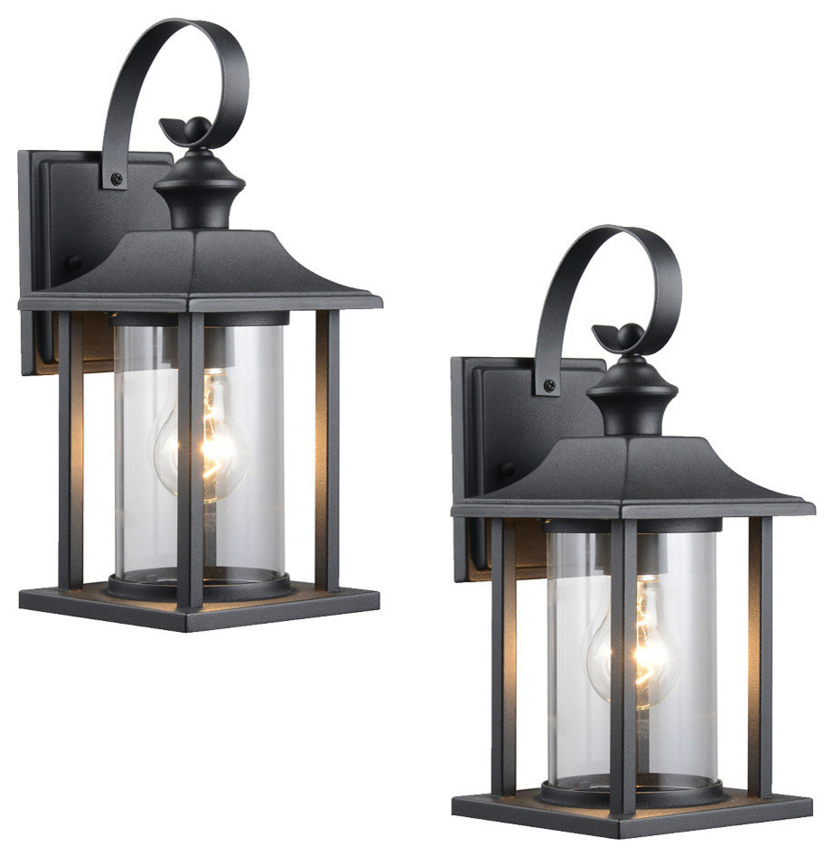 Favorite Brierly Oil Rubbed Bronze/black Outdoor Wall Lanterns In Textured Black Outdoor Patio Exterior Light Fixture, Set (View 3 of 20)