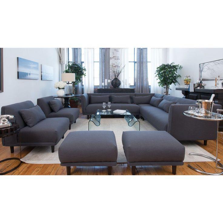 Favorite Calvin Concrete Gray Sofas With Manhattan Concrete Grey Fabric 5 Piece Living Room (View 11 of 20)