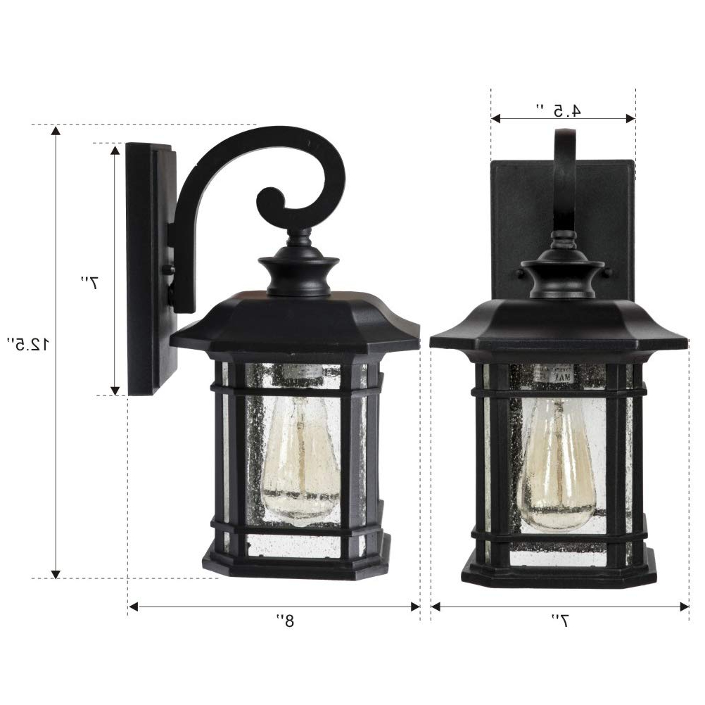 Favorite Cherryville Black Seeded Glass Outdoor Wall Lanterns Within Outdoor Wall Lantern Lights, Black Finish With Clear (View 9 of 20)