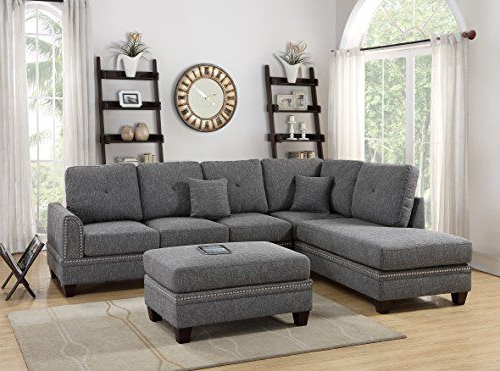 Favorite Clifton Reversible Sectional Sofas With Pillows Throughout 2 Pcs Sectional Sofa Ash Black Modern Sectional Reversible (View 18 of 20)