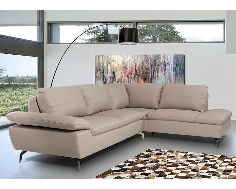 Favorite Contemporary Sectional Sofa In Grey Leather 44l5990 Throughout Noa Sectional Sofas With Ottoman Gray (View 2 of 20)