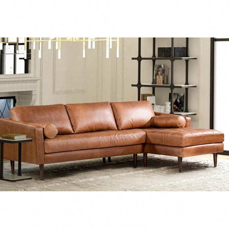 Favorite Florence Mid Century Modern Right Sectional Sofas Cognac Tan Regarding Redwhite Upholstered Chairs Info:  (View 16 of 20)