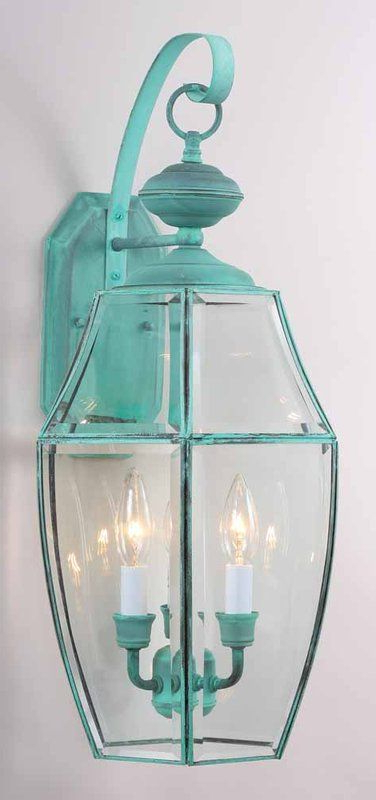 """Favorite Gillian 3 – Bulb Beveled Glass Outdoor Wall Lanterns With Regard To Volume Lighting V9910 3 Light 24"""" Height Outdoor Wall (View 2 of 20)"""