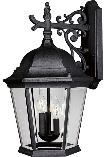 Favorite Gillian 3 – Bulb Beveled Glass Outdoor Wall Lanterns With Regard To Welbourne 3 Light Outdoor Wall Mount, Black, Clear Beveled (View 17 of 20)