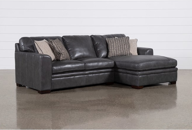 """Favorite Greer Dark Grey Leather 2 Piece 108"""" Sectional With Left In Kiefer Right Facing Sectional Sofas (View 14 of 20)"""