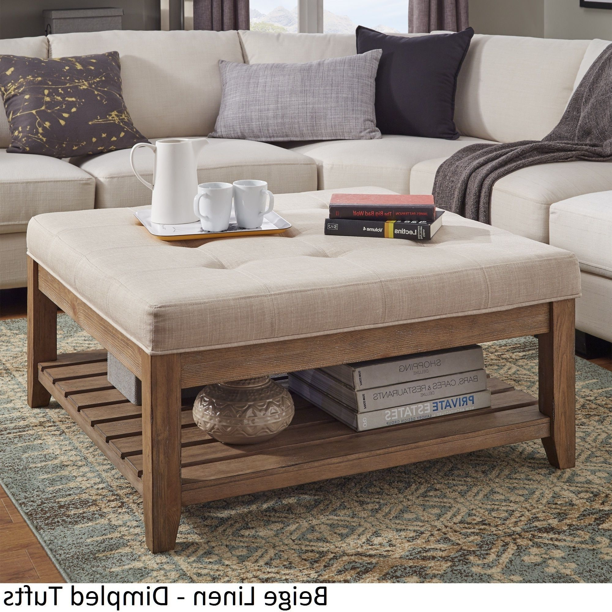 Favorite Lennon Pine Planked Storage Ottoman Coffee Table In Artisan Beige Sofas (View 20 of 20)