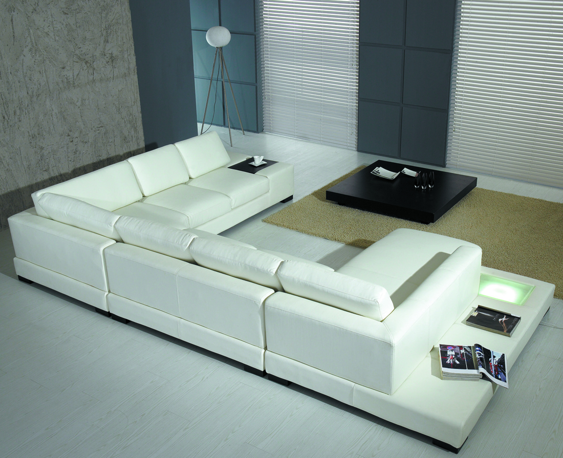 Favorite Mireille Modern And Contemporary Fabric Upholstered Sectional Sofas Regarding Modern White Bonded Leather Sectional Sofa T (View 16 of 20)