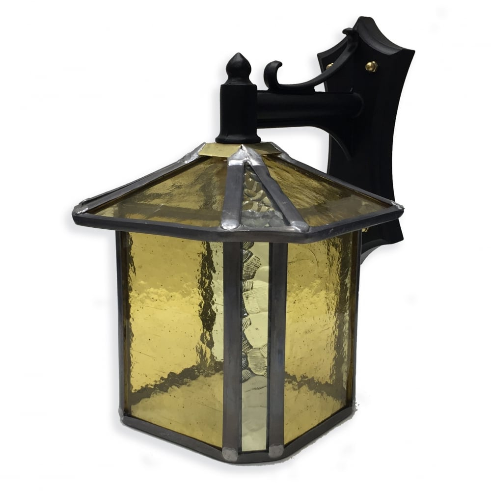 Favorite Payeur Hammered Glass Outdoor Wall Lanterns Within Decorative Gold Stained Glass Outdoor Wall Lantern – Ip (View 9 of 20)