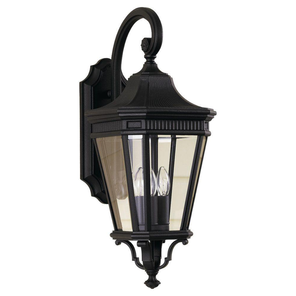 Feiss Cotswold Lane 3 Light Black Outdoor Wall Lantern Inside Trendy Armanno Matte Black Wall Lanterns (View 16 of 20)