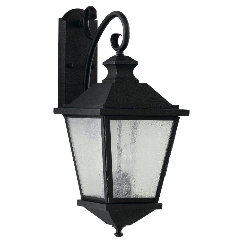 Feiss Woodside Hills 3 Light Black Outdoor Wall Lantern Pertaining To Preferred Vendramin Black Glass Outdoor Wall Lanterns (View 9 of 20)