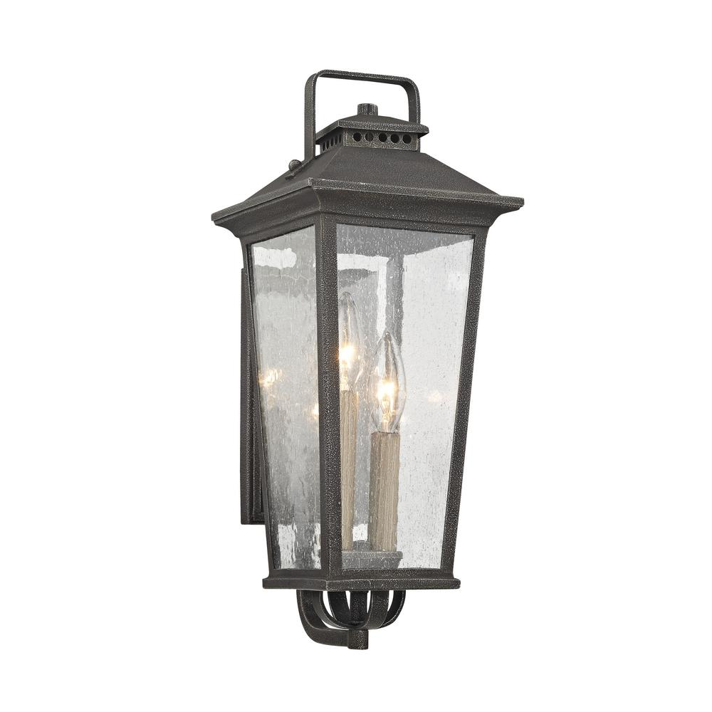 Fifth And Main Lighting Parsons Field 2 Light Aged Pewter Pertaining To Best And Newest Chelston Seeded Glass Outdoor Wall Lanterns (View 18 of 20)