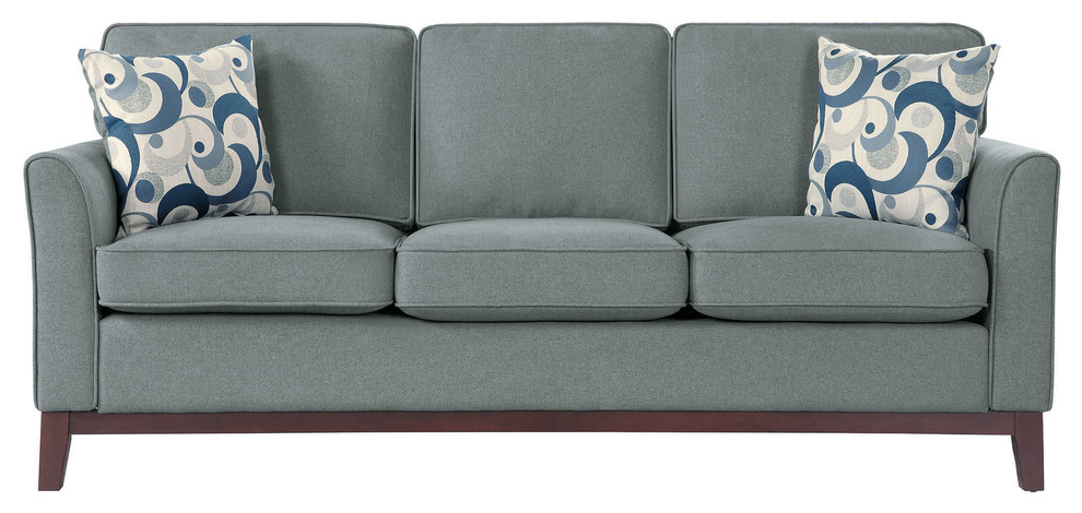 Flett Sofa, Gray – Transitional – Sofas  Lexicon Home With Regard To Latest Riley Retro Mid Century Modern Fabric Upholstered Left Facing Chaise Sectional Sofas (View 20 of 20)