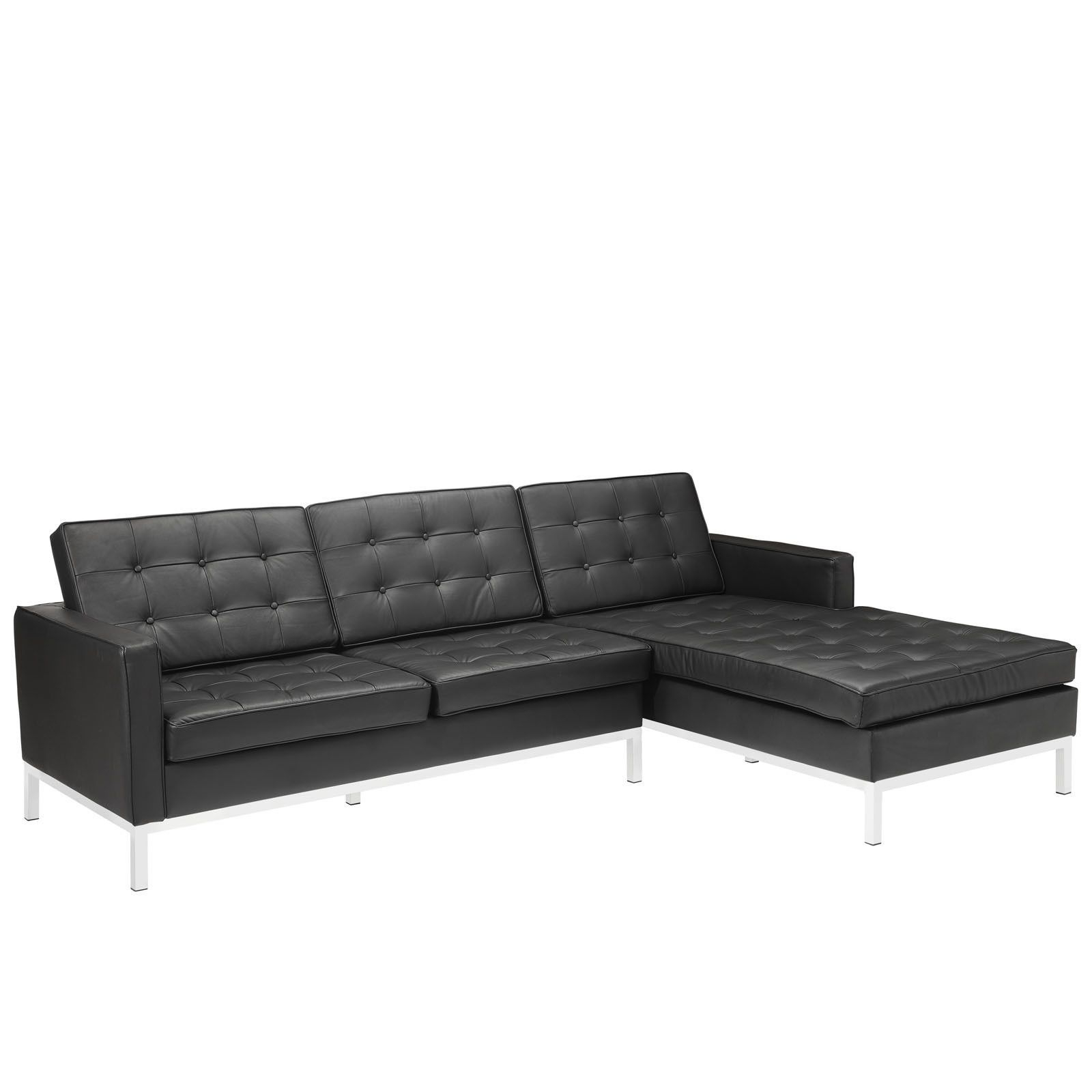 Florence Knoll Style Sectional Sofa In Black Leather Left Throughout 2018 Florence Mid Century Modern Velvet Left Sectional Sofas (View 2 of 20)