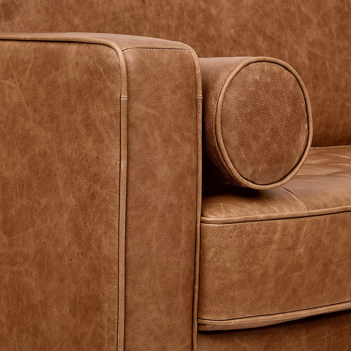 Florence Mid Century Modern Right Sectional Sofas Cognac Tan Within Most Current Cognac Leather Modern Couch Leather Couch Brown Mid (View 12 of 20)