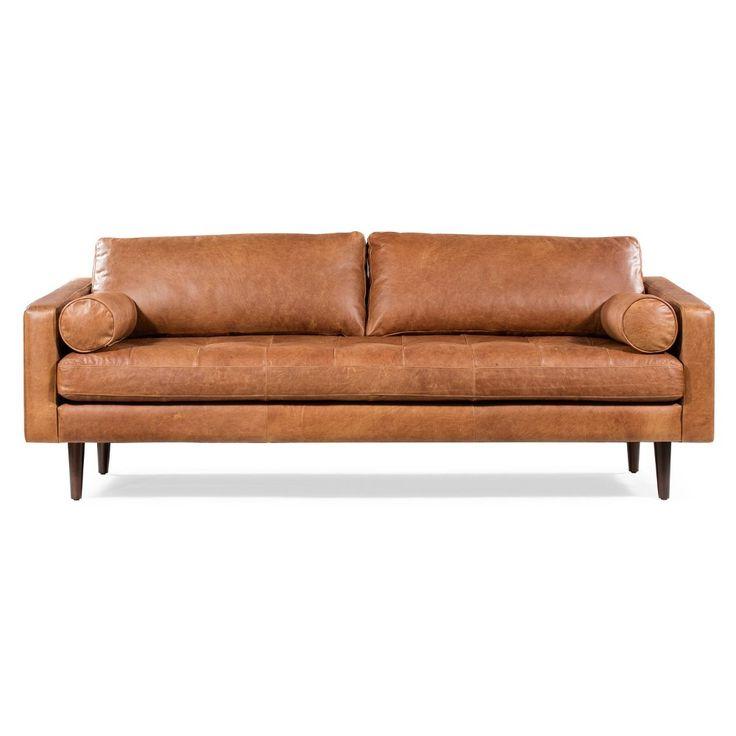 Florence Mid Century Modern Sofa Cognac Tan – Poly & Bark In 2019 Florence Mid Century Modern Right Sectional Sofas (View 4 of 20)