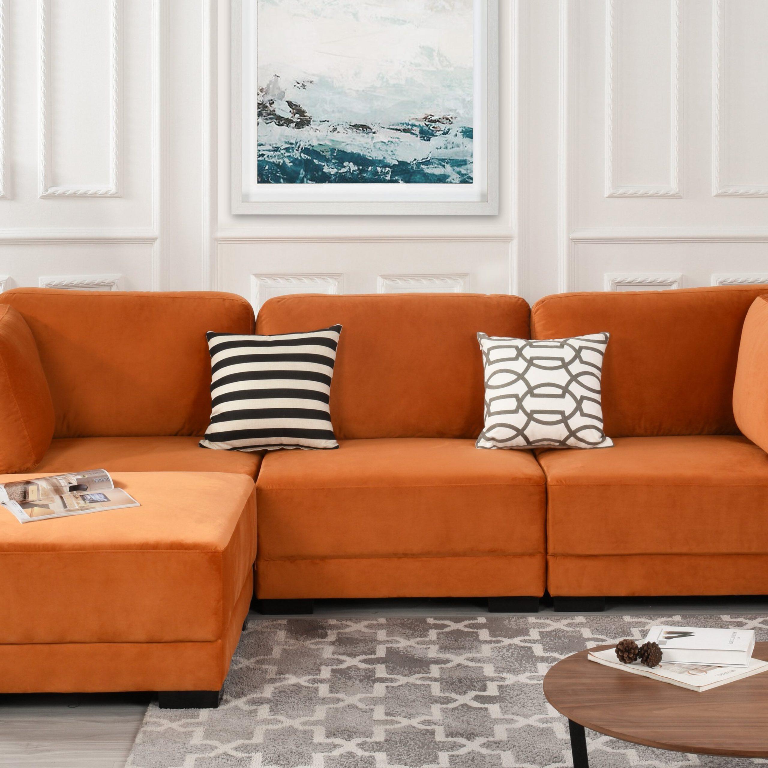 Florence Mid Century Modern Velvet Left Sectional Sofas Intended For Trendy Orange Upholstered Velvet Sectional Sofa, L Shape Modern (View 8 of 20)