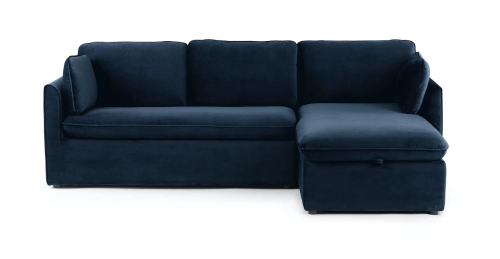 Florence Mid Century Modern Velvet Left Sectional Sofas Pertaining To Most Current Tidal Blue Oneira Left Facing Velvet Sofa Bed (View 5 of 20)