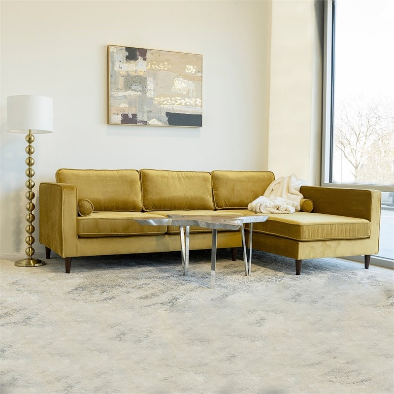 Florence Mid Century Modern Velvet Left Sectional Sofas With Well Liked Mid Century Modern Owen Gold Velvet Sectional Sofa Left (View 18 of 20)